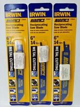 """Irwin 372614 6"""" x 14 TPI Bi-Metal Reciprocating Saw Blades 3PKS USA  - $3.71"""