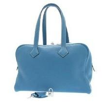 HERMES Victoria2 35 Blue Gene Boston Bag R Carved seal Taurillon Silver ... - $3,938.22
