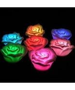24 DECORATION ROMANTIC COLORS CHANGING LED LAMP CANDLE LIGHT NIGHT ROSE ... - $15.00