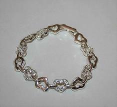 Avon Silvertone Crystal Open Heart Bracelet  J345 image 1