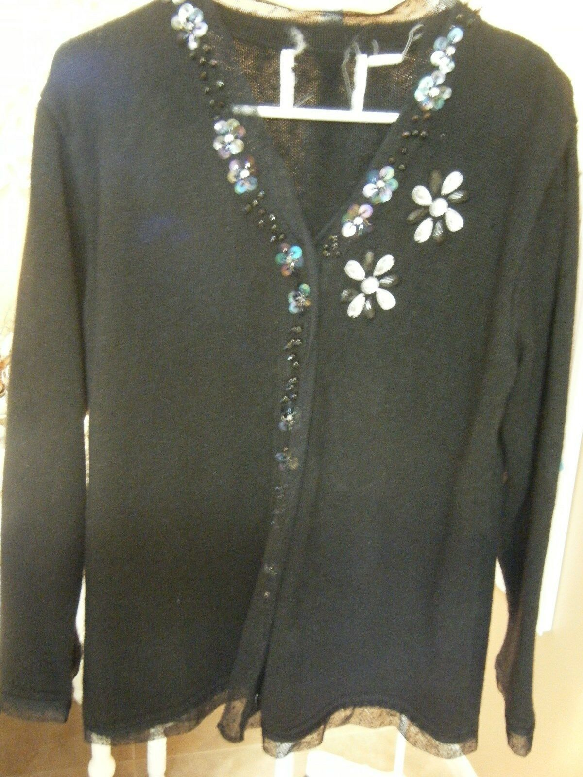 Primary image for WOMENS STORYBOOK BLACK SWEATER CRYSTALS , BEADS AND LACE SIZE LARGE