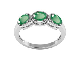 Colombian Blue Green Emerald Oval Cut 925 Sterling Silver Stacking Ring - $30.23