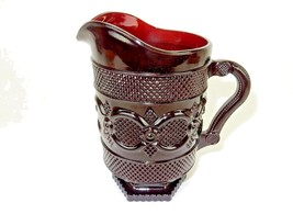 Footed Water Pitcher, Hex Base AVON 1876 Cape Cod Collection, Cranberry,... - $29.35