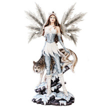 Large Fairy With Wolf Statue Polyresin Figurine Home Decor - $148.49