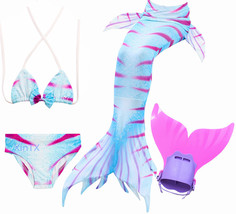 4PCS/Set Colorful Swimmable Mermaid Tail With Monofin Girl Swimwear Costume - $35.99+
