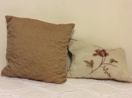 Decorative Pillows Set of 2.  One Square and One Embroidered Rectangular. - $16.00