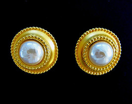 Karl Lagerfeld Gold Tone & Faux Pearl Round Earring Clips - $85.00