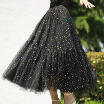 Black Tulle Party Skirt Women Tiered Layered Tulle Skirt Tulle Party Skirt Plus image 11