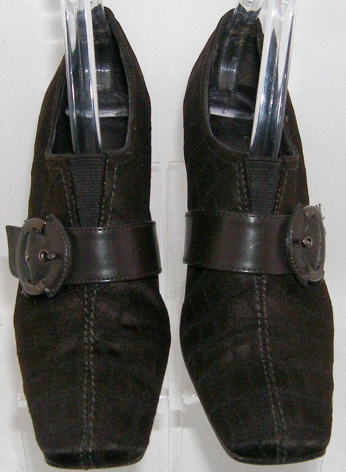 Liz Claiborne 'Maribel' brown crock print fabric buckle slip on bootie 6M