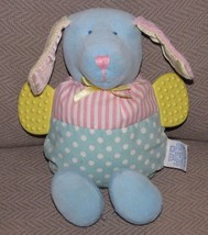 Eden Stuffed Plush Baby Puppy Dog Toy Rattle Teether Satin Crinkle Ears Pastel - $13.85