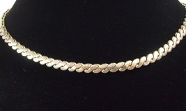 CORO Silver Plate Necklace Serpentine Chain CHOKER Vintage Estate Career - $29.69