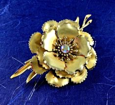 Statement Coro Pin Brooch Signed Flower AB Gold Toned Wedding Bridal Gift Vtg image 5