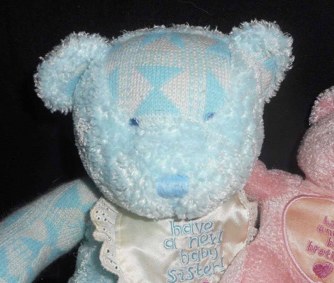 2000 ENESCO BLUE BROTHER PINK SISTER TEDDY BEAR RATTLE STUFFED ANIMAL PLUSH TOY image 2