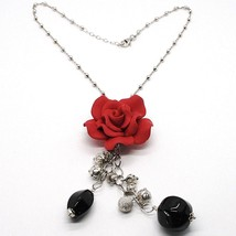 SILVER 925 NECKLACE, ONYX BLACK, PINK RED, FLOWER, CHAIN BALLS - $96.62