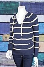 Gap Size XS Blue Cream Nautical Striped Wool Blend Knit V-Neck Sweater Work - $14.84