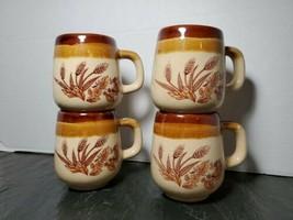 Vintage Glazed Stoneware Coffee Mugs Wheat Triple Tone Brown Beige Tan T... - $46.48
