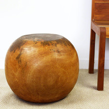 Sustainable Mango Wood Ball End Table 20 D x 16 inch H in Eco Fr Livos O... - $239.40
