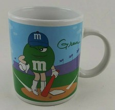 M&M COFFEE MUG CUP GREEN YELLOW GALERIE MARS VINTAGE COLLECTIBLE MMs BAS... - $6.85