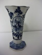 Royal Delft Handpainted Small Blue & White Vase Pretty Dutch - $11.99