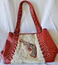 Montana West Tooled Leather Purse Handbag Concealed Carry Fur Silver Gun Bullet - $49.99
