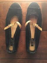 Kate Spade Harlow Mary Jane Leather Strap Black Corduroy US 6 Women's Flats - $24.75