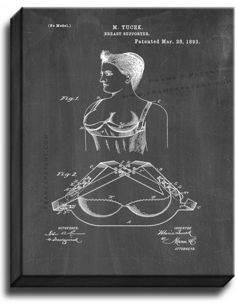Primary image for Breast Supporter Patent Print Chalkboard on Canvas