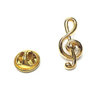 Gold Plated Treble Clef tie pin, Lapel Pin Badge, in gift box