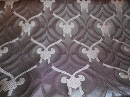 Satin Gray Taupe Applique Medallion Drapery Upholstery Fabric 3 Yard Piece, 17-6 - $36.00
