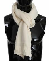 Dolce & Gabbana Mens Solid Beige Virgin Wool Knit Wrap Scarf 30cm x 200cm - $187.11