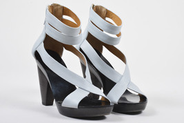 Givenchy Light Gray Leather Wooden Platform Heeled Ankle Strap Sandals S... - $160.00