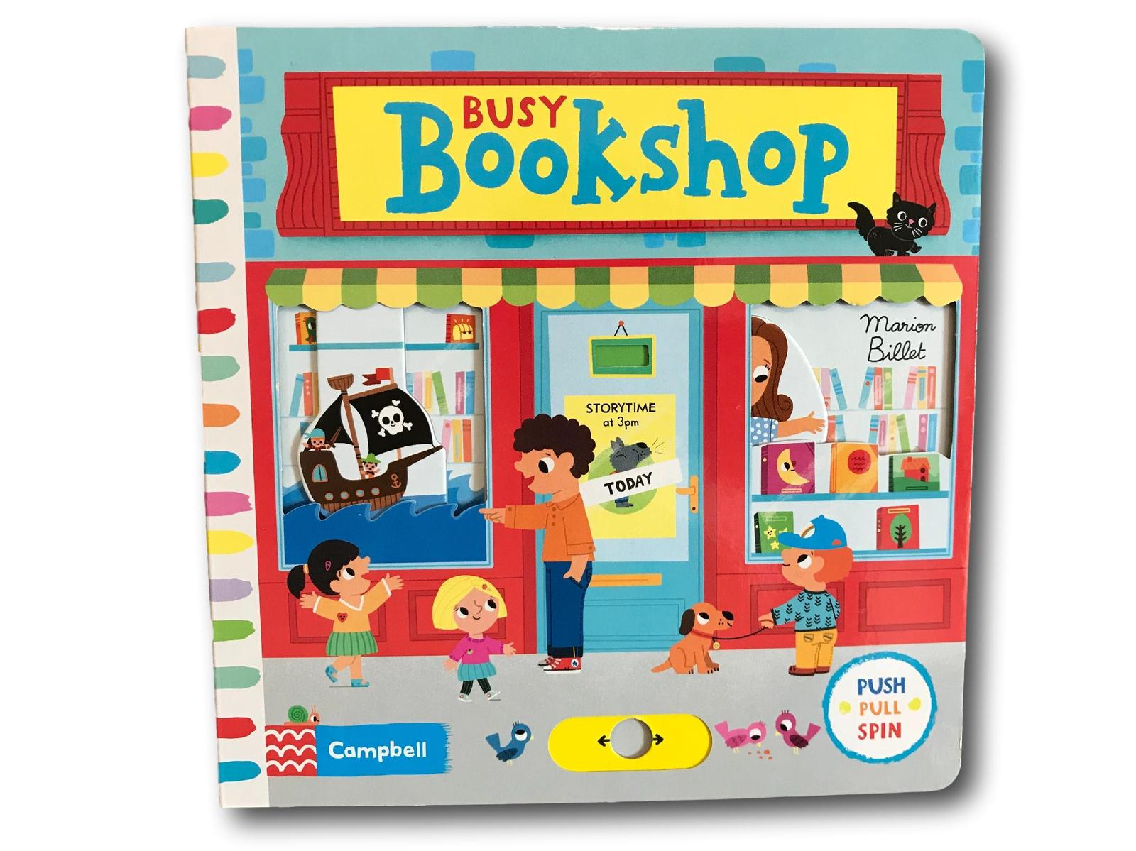 Campbell Busy Bookshop Kids Children Baby Push Pull Slide Board Book - $8.49