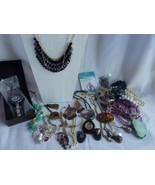 Mixed lot of Costume Jewelry Watches Necklaces Brooches Earrings - $19.55