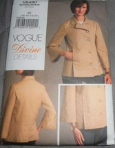 Pattern Vogue Devine Details Jacket V8480 Uncut Factory Folded - $9.79