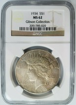 1934 P Silver Peace Dollar NGC MS 62 Gibson Collection Hoard Pedigree Toned - $249.19