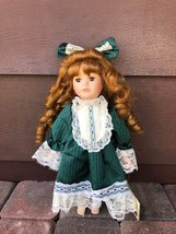 "Dan Dee Collectors Choice Series 12"" Porcelain Cloth Doll Green Dress  - $12.77"