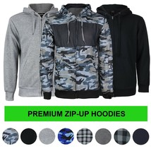 Men's Cotton Blend Zip Up Drawstring Fleece Lined Sport Gym Sweater Hoodie image 1