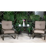 3 PC Outdoor Patio Bistro Furniture Set Wrought Iron Tempered Glass Tabl... - $269.98