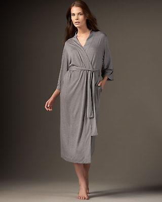 NWT $180 New Natori Gray Robe Womens Long Very Soft Solid XXL Pockets Heathered