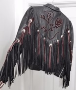 DALLAS LEATHER Jacket Coat Western Cowboy Biker Fringe Conchos Black 10 Vtg - $229.95