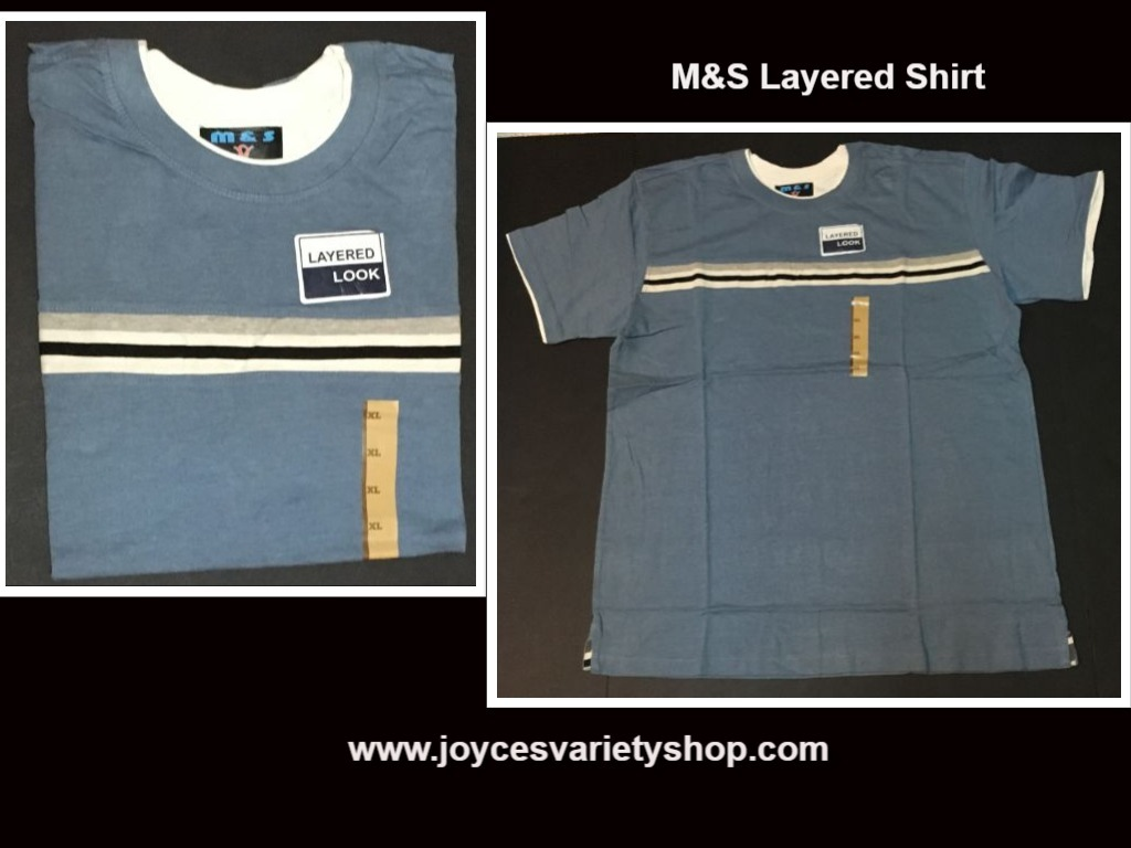 M s blue layered look shirt web collage