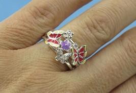 Enamel Butterfly Flowers Fashion Ring Sz 7 - $17.60
