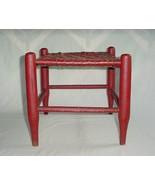 ANTIQUE SHAKER STOOL BENCH LIPSTICK RED PAINT WOVEN SPLIT ASH SEAT - $325.00