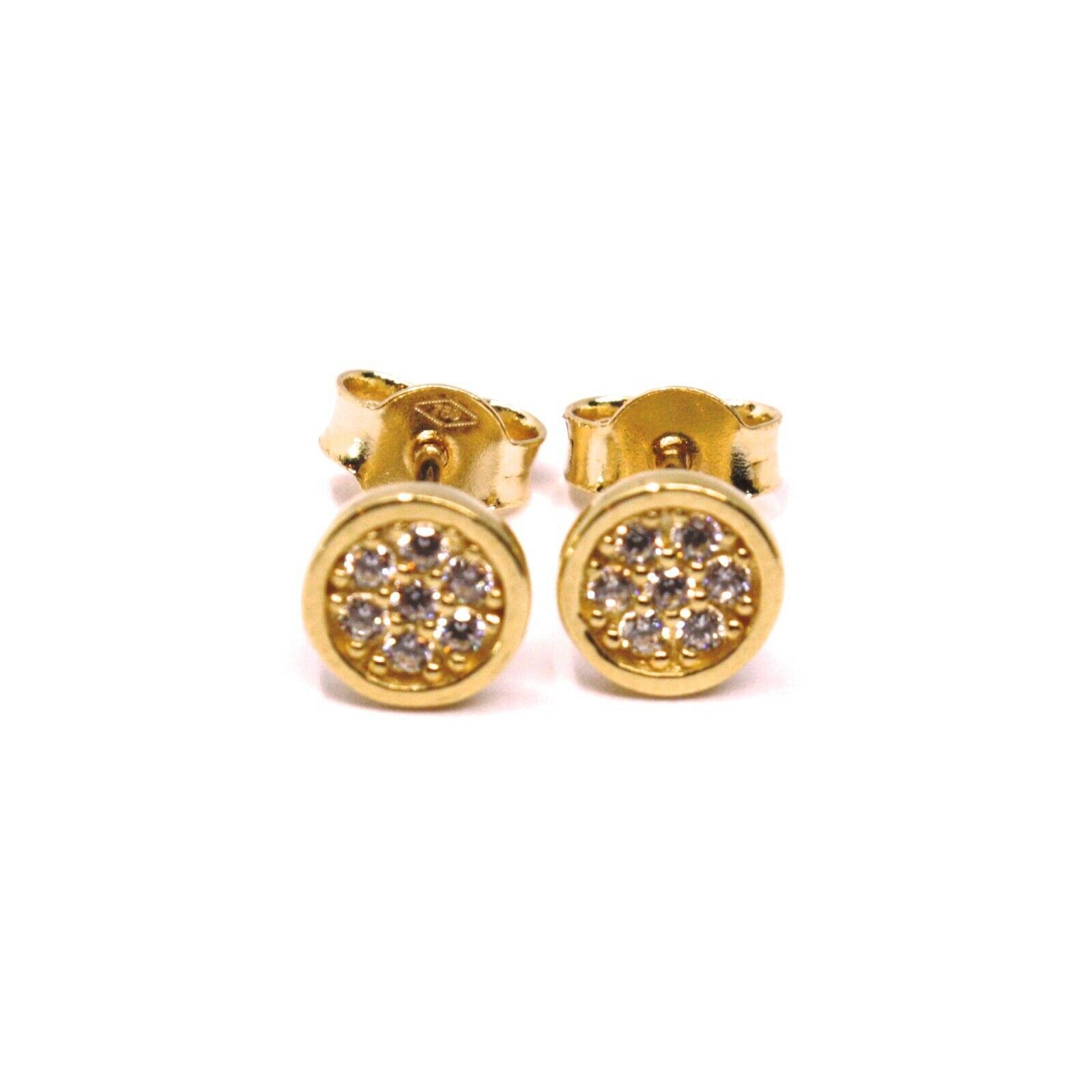 18K ROSE GOLD MINI BUTTON EARRINGS WITH CUBIC ZIRCONIA, DISC FLOWER, 6 MM