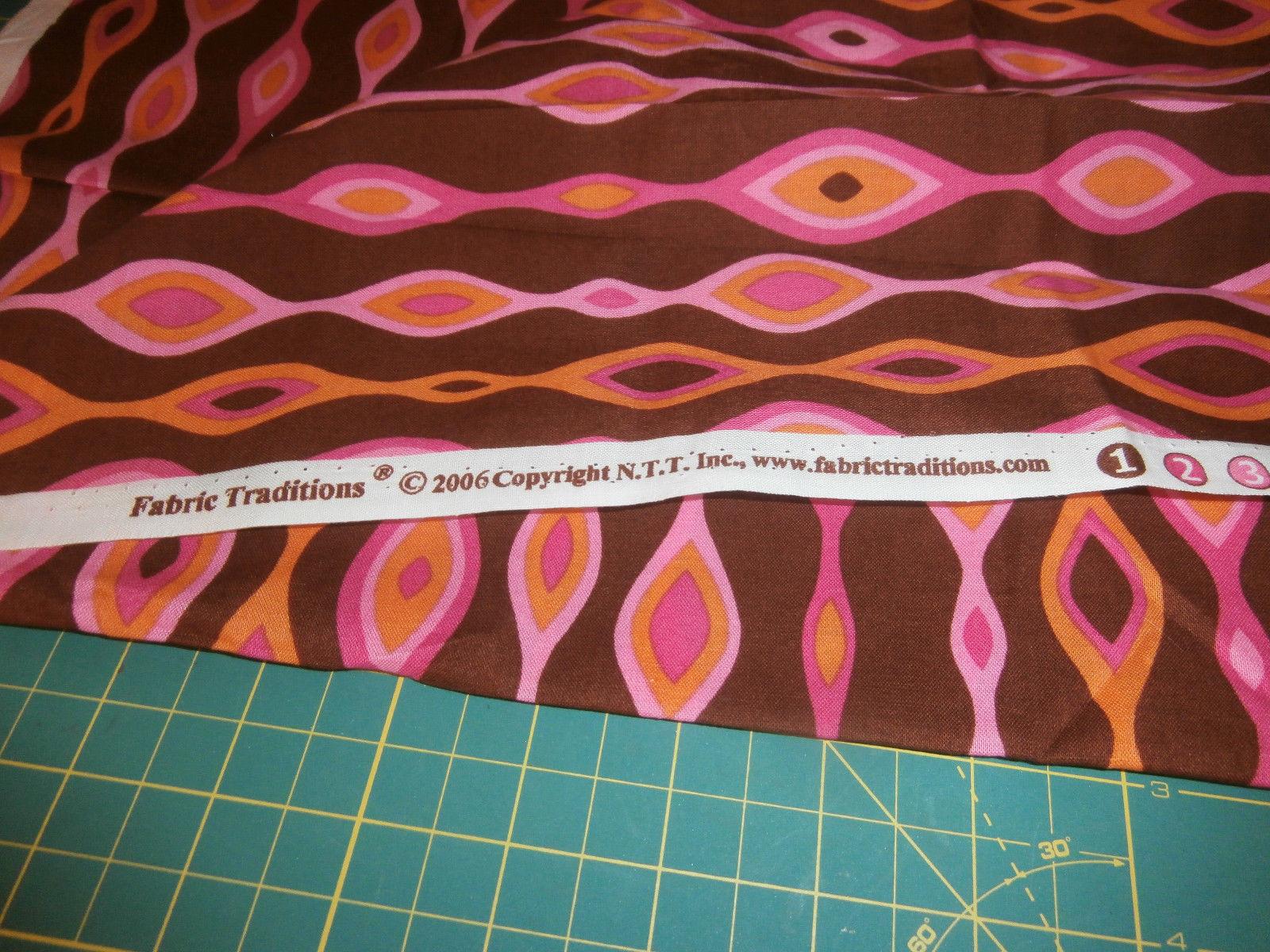 1 Yard Fabric Traditions 100% Cotton Brown Pink Orange Geometric