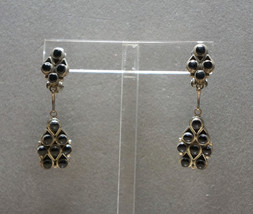 Sterling Silver and Onyx Earrings Vintage Clip Back Dangle Handcrafted - $1.561,86 MXN