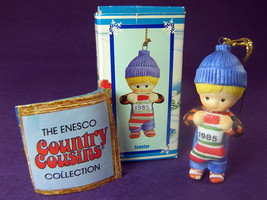 Scooter Country Cousins Porcelain Christmas Ornament 1985 Boy Dressed For Snow - $12.35