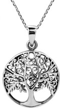 Flourishing Fruitful Tree Of Life .925 Sterling Silver Necklace - $92.56