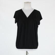 Black NEW YORK & COMPANY short sleeve V-neck stretch blouse XS - $14.99