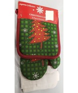 5 pc KITCHEN SET: 2 POT HOLDERS, OVEN MITT & 2 TOWELS, CHRISTMAS TREE by... - $13.85