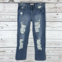 Mudd Womens Juniors SZ 1 Jeans Blue Distressed Low-Rise Skinny Leg Facto... - $8.88